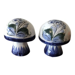 Mexican Pottery Hand Painted Mushroom Salt & Pepper Shakers For Sale