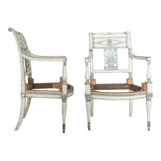 19th Century French Empire Painted Fauteuil Frames - a Pair For Sale