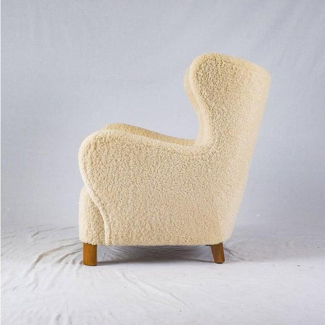 Scandinavian Sheepskin Lounge Chair - Image 4 of 10