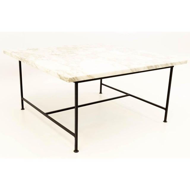 Paul McCobb Style Mid Century Marble and Iron Square Coffee Table For Sale In Chicago - Image 6 of 6