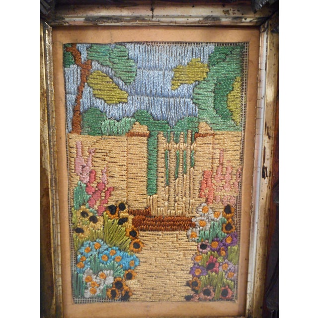 Art Nouveau Arts & Crafts - Victorian Silk Embroidery Picture in Black Forest Frame For Sale - Image 3 of 9