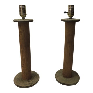 Pair of Vintage Wood Found Object Table Lamps For Sale