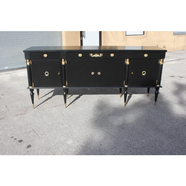 Red 1920s Long French Empire Style Antique Sideboard or Buffet For Sale - Image 8 of 13