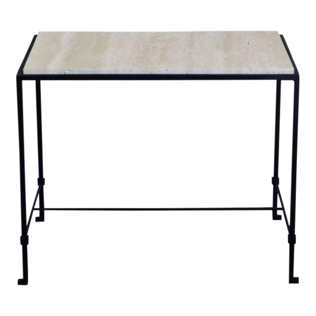 """This listing is for a pair of """"Diagramme"""" wrought iron and travertine side tables by Design Frères. Measures: Lower bar is..."""