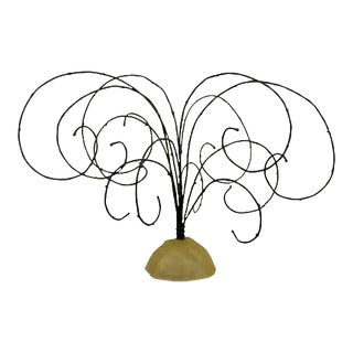 Mid Century Modern Brutalist Threaded Metal Wire Tree Table Sculpture 1960s For Sale
