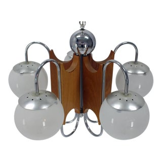 Five-Globe Shades Mid-Century Modern Light Fixture Chandelier For Sale
