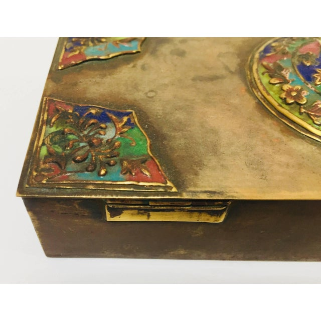 Brass Art Deco Lidded Box With Enameled Decoration For Sale In Los Angeles - Image 6 of 13