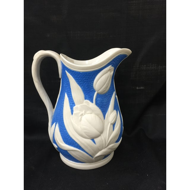 1850s Blue & White Tulip Relief Pitcher - Image 3 of 6