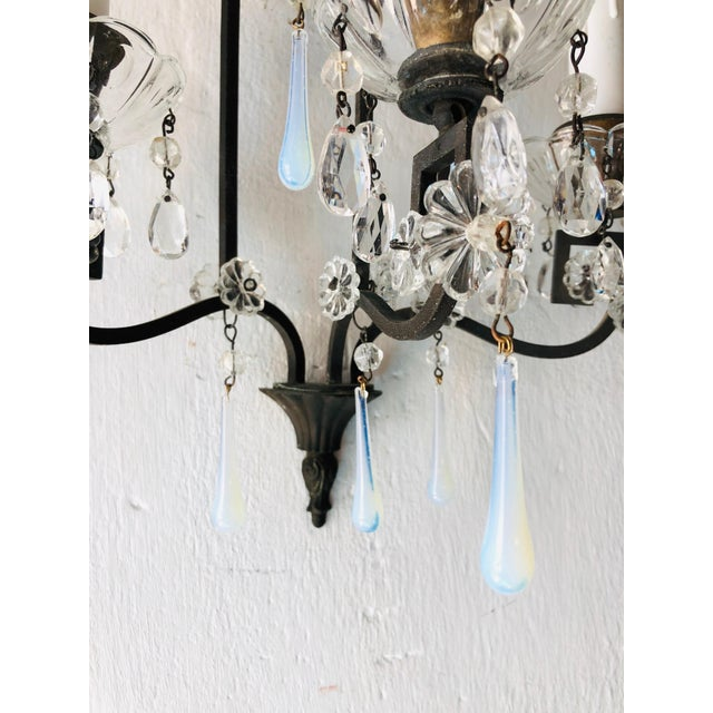 1900 - 1909 Bronze Murano Iridescent Drops Crystal French Sconces, circa 1900 For Sale - Image 5 of 9