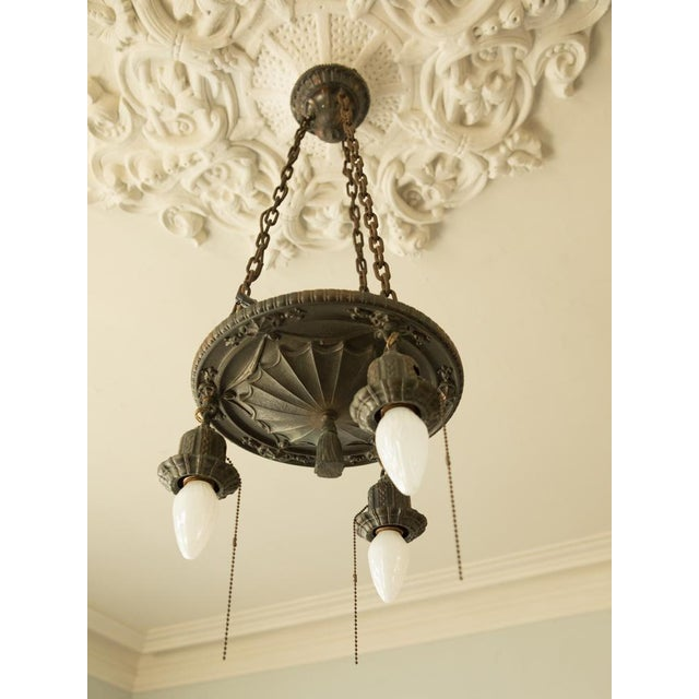 Pair of Two Victorian Original Flush Mount Chandelier - Image 7 of 8