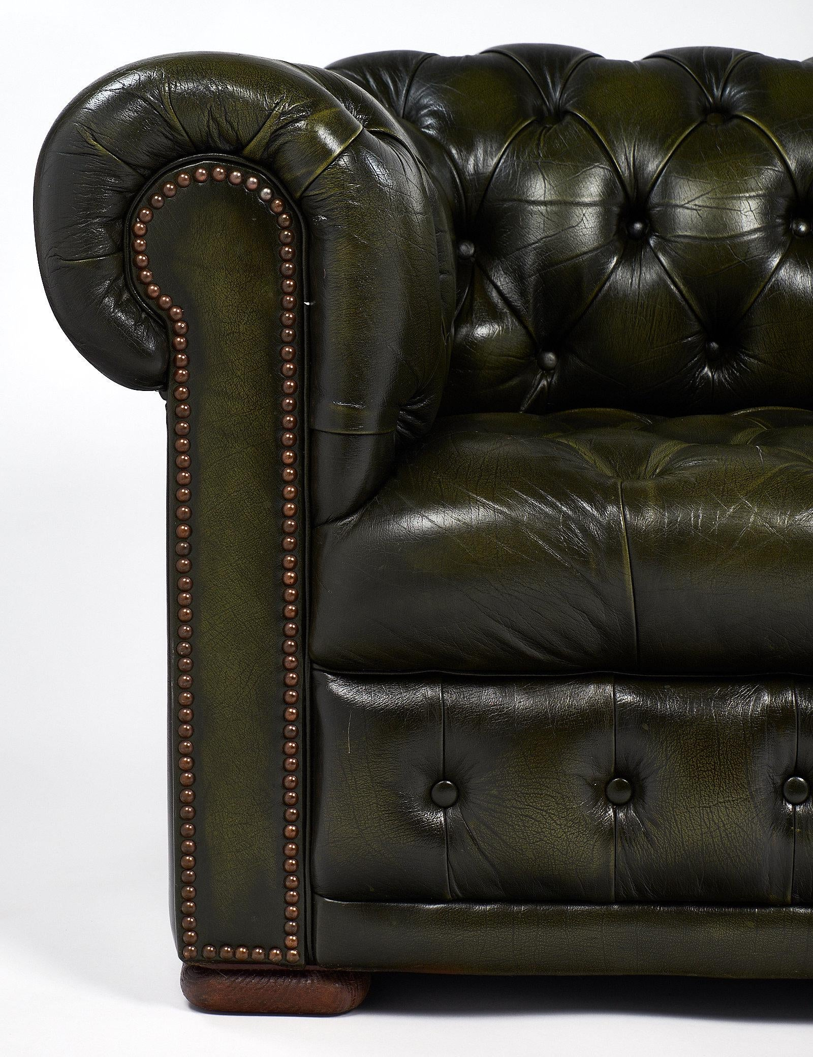 Great Vintage Leather Green Chesterfield Sofa For Sale   Image 9 Of 10