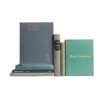 Vintage Blue and Green Art Books - Set of 7
