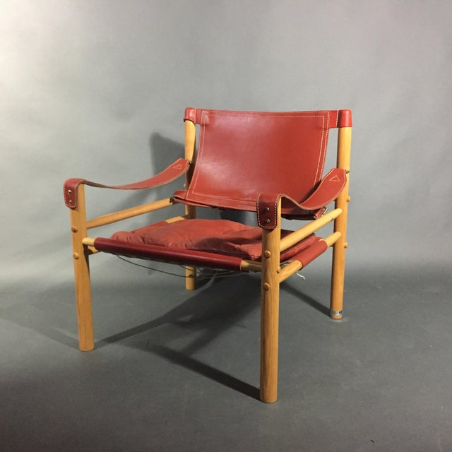 2000s Pair of Arne Norell Red Leather Sirocco Chairs For Sale - Image 5 of 11