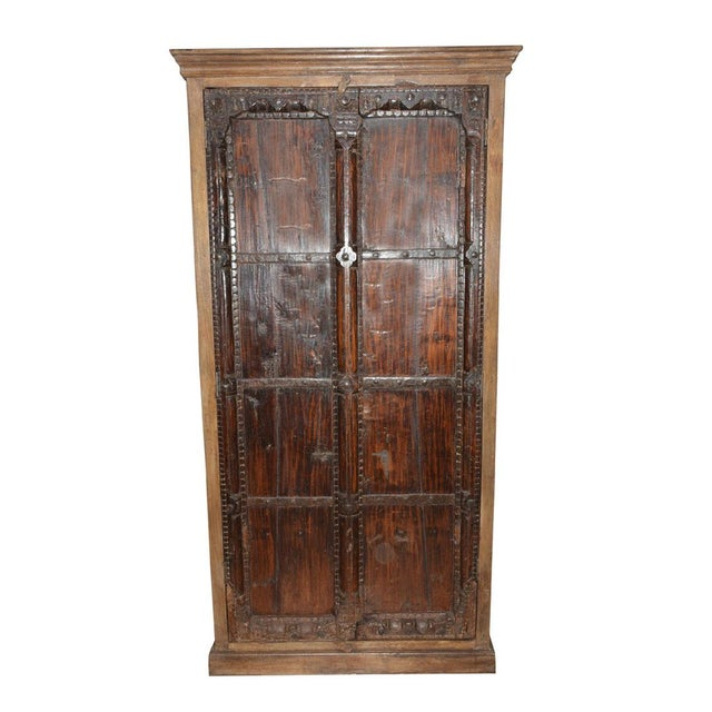 Boho Chic Antique Indian Furniture Spanish Colonial Dark Teak Wood Storage Wardrobe For Sale - Image 3 of 5