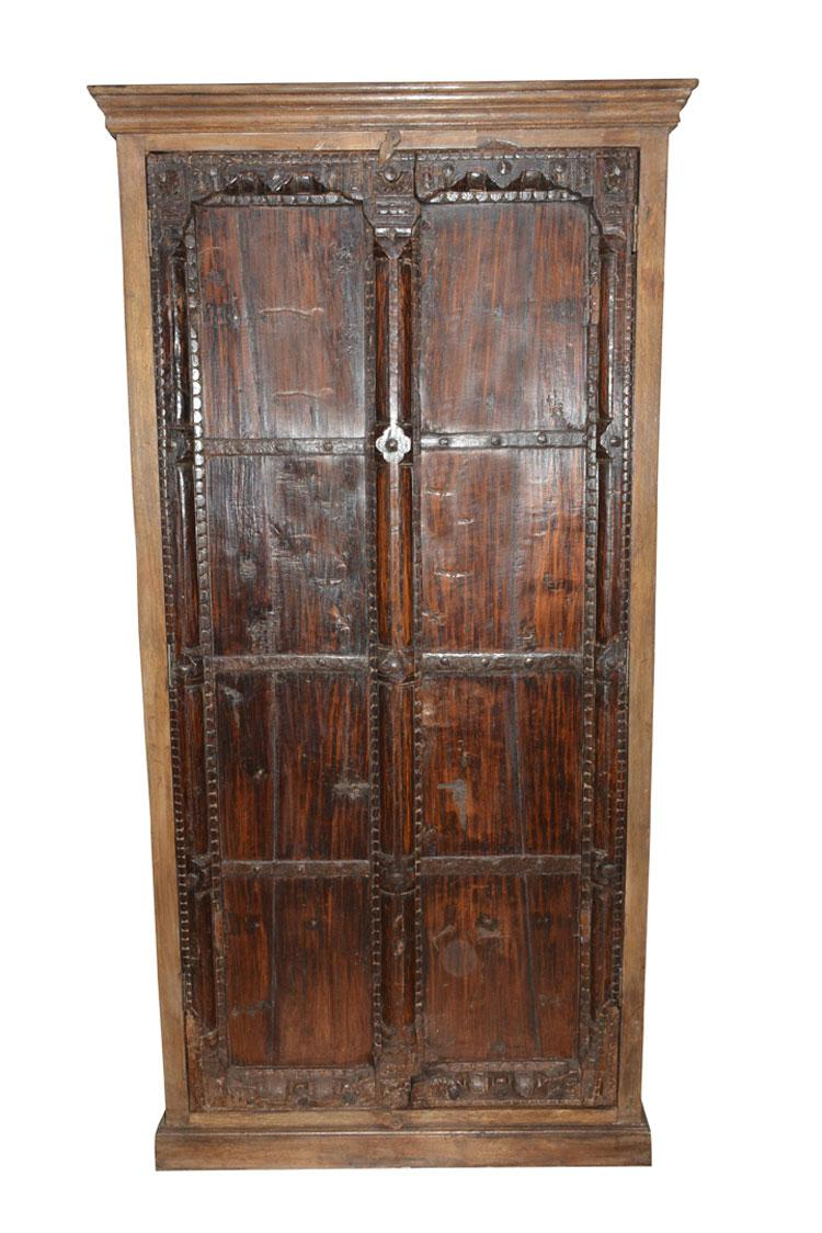 Asian Antique Indian Furniture Spanish Colonial Dark Teak Wood Storage  Wardrobe For Sale   Image 3