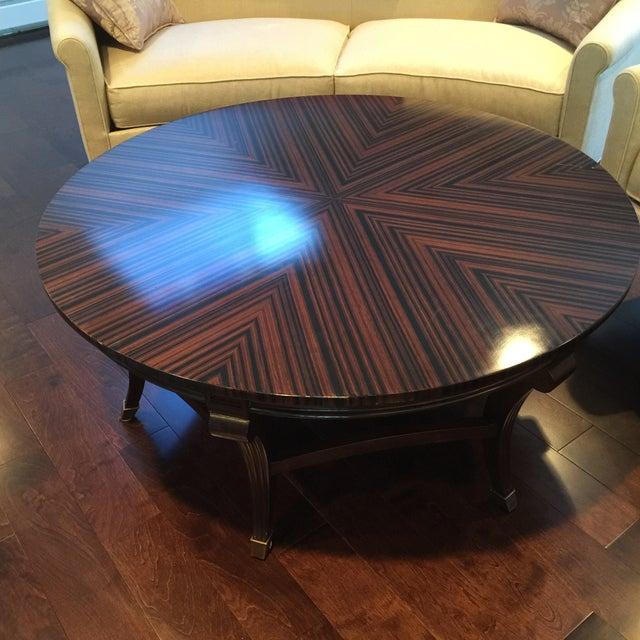 Herringbone Inlay Round Coffee Table - Image 3 of 4