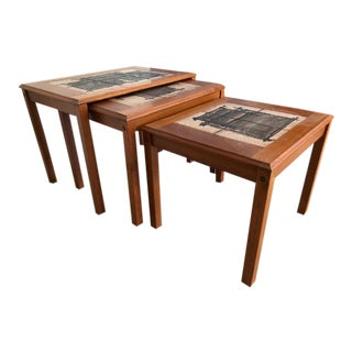 Mid-Century Modern Trioh Signed Tile Top Nesting Tables - Set of 3 For Sale