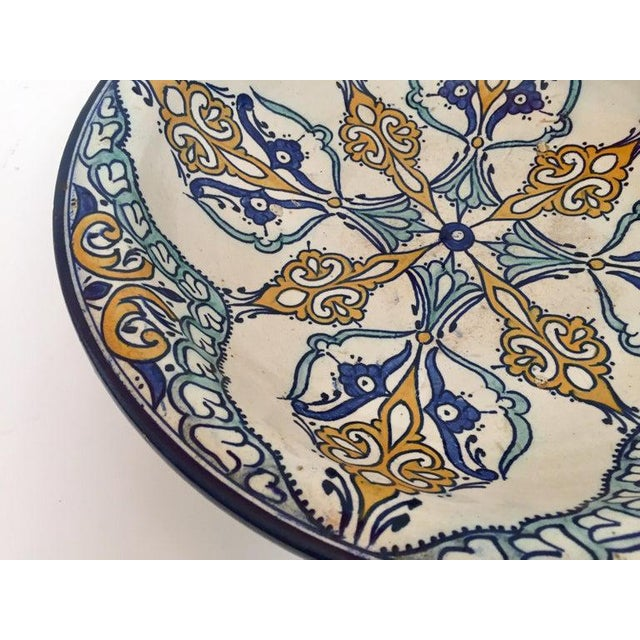 Islamic Moroccan Large Ceramic Plate Bowl From Fez For Sale - Image 3 of 13