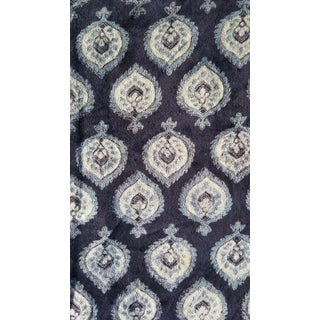 Indigo Hand-Block Print Cotton Velvet Fabric- 10 Yards For Sale