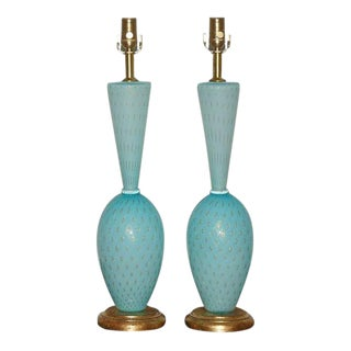Vintage Murano Glass Table Lamps in Blue Gold For Sale