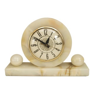 American Art Deco White Onyx Table Clock For Sale