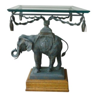 1970's Vintage Maitland Smith Bronze Leather & Glass Elephant Table For Sale
