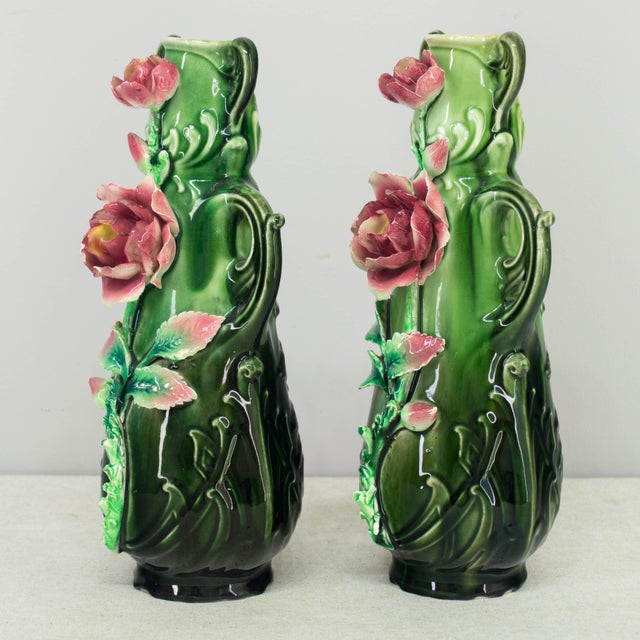 French Art Deco Majolica barbotine garniture set, c.1920's including two vases with matching low bowl. Deep green color...