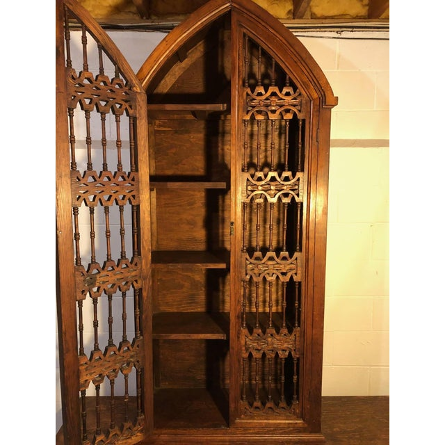 Magnificent Hand Carved Mahogany Gothic Style Bookshelf Cabinet For Sale - Image 9 of 11