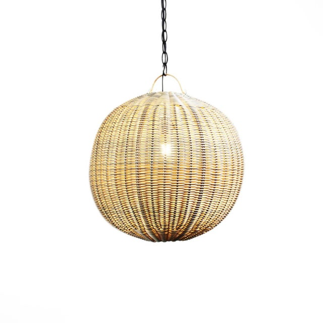 Faux Rattan Globe Lantern 12 For Sale - Image 4 of 4