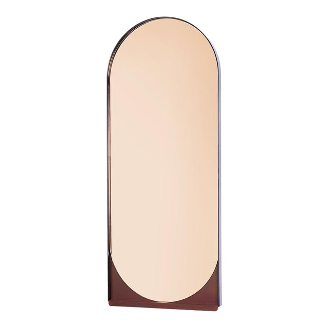 Contemporary Blackened Steel and Patinated Bronze Slip Mirror in Peach For Sale
