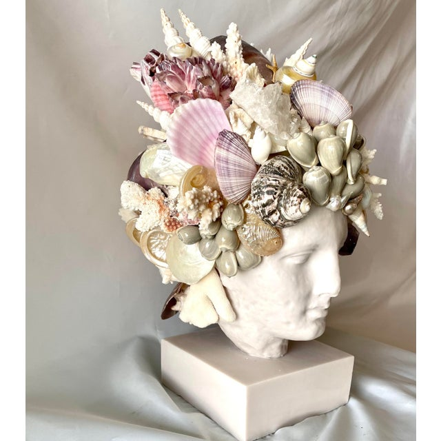 Mediterranean Large Shell-Encrusted Hygiea Head For Sale - Image 3 of 6