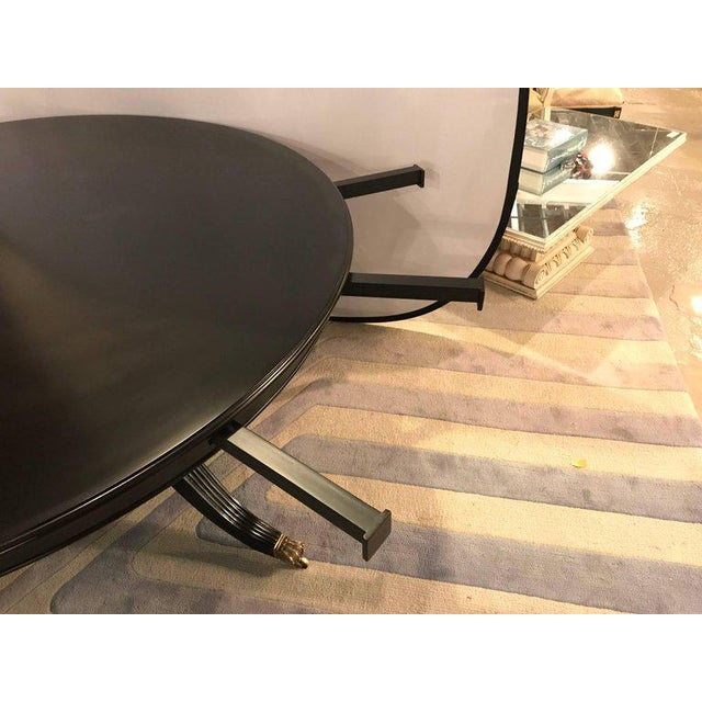 1960s Monumental Hollywood Regency Custom-Made Ebony Circular Extending Dining Table For Sale - Image 5 of 12