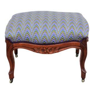 Victorian Upholstered Solid Walnut Footstool