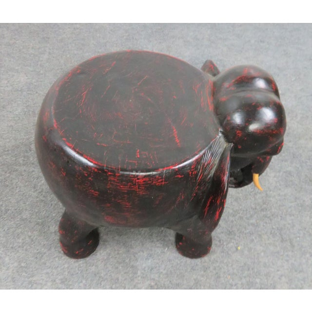 Mid 20th Century Distressed Painted Elephant Garden Stool For Sale - Image 5 of 6