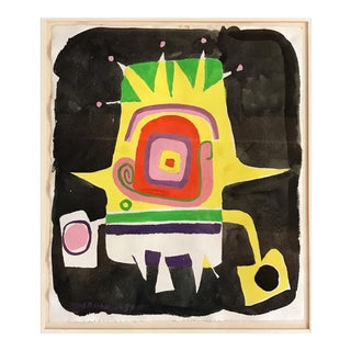 Norman Hoberman Abstract Painting Mixed Media 1959 For Sale