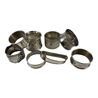 Sterling Silver Antique Napkin Ring - Set of 8