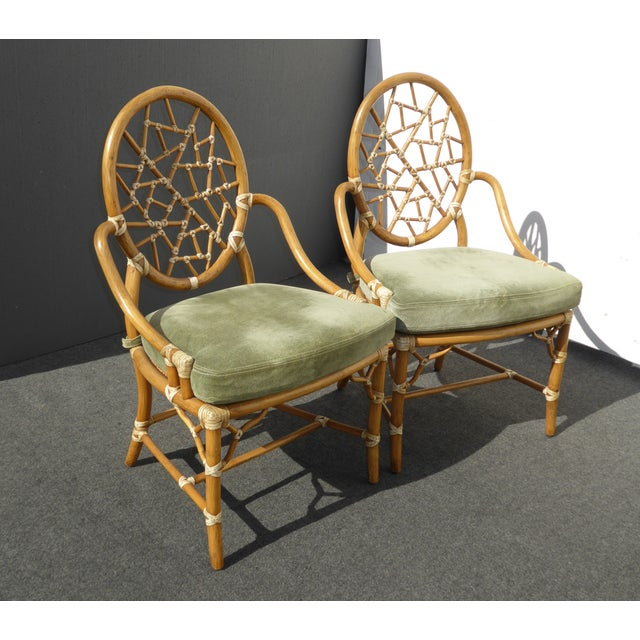 McGuire Cracked Ice Bamboo Rattan Green Suede Leather Arm Chairs - Set of 4 - Image 6 of 11