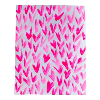Contemporary Pink and White Pattern Painting For Sale