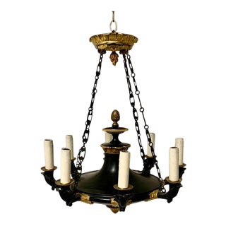 1930s French Empire Gilt Metal Chandelier With 8 Arms For Sale