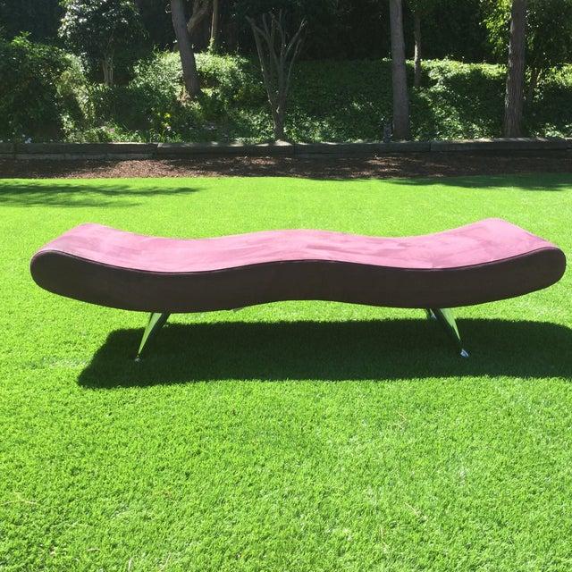 Mid-Century Modern Custom Purple Mid Century Modern Bench For Sale - Image 3 of 3