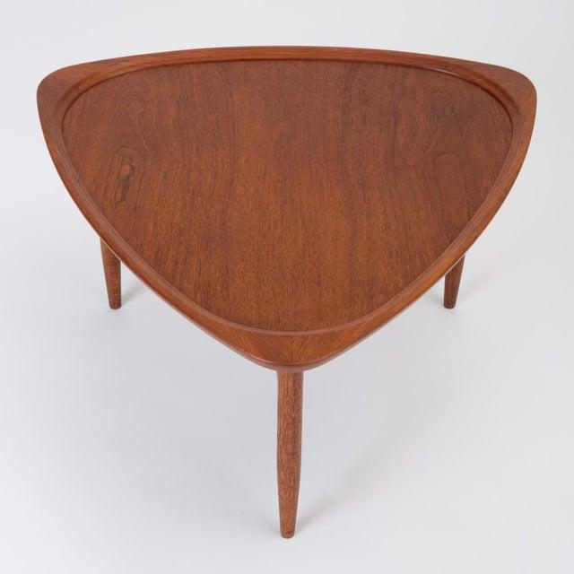 "Wood Scandinavian Modern Teak ""Guitar Pick"" Side Table For Sale - Image 7 of 13"