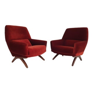 Leif Hansen Danish Lounge Chairs- A Pair For Sale