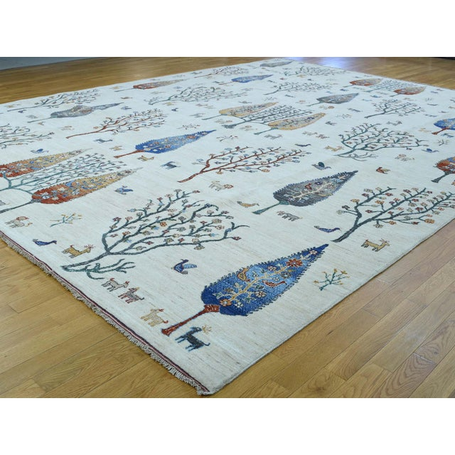 Islamic Hand-Knotted Wool Tree Design Peshawar Rug- 12′3″ × 15′6″ For Sale - Image 3 of 13
