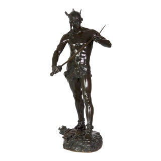 Circa 1880 French Antique Bronze Sculpture of Warrior by Andre Massoulle