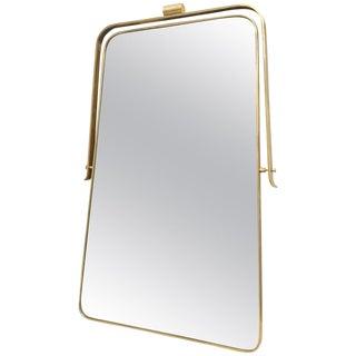 1950s Vintage Gio Ponti Style Italian Brass Frame Mirror For Sale
