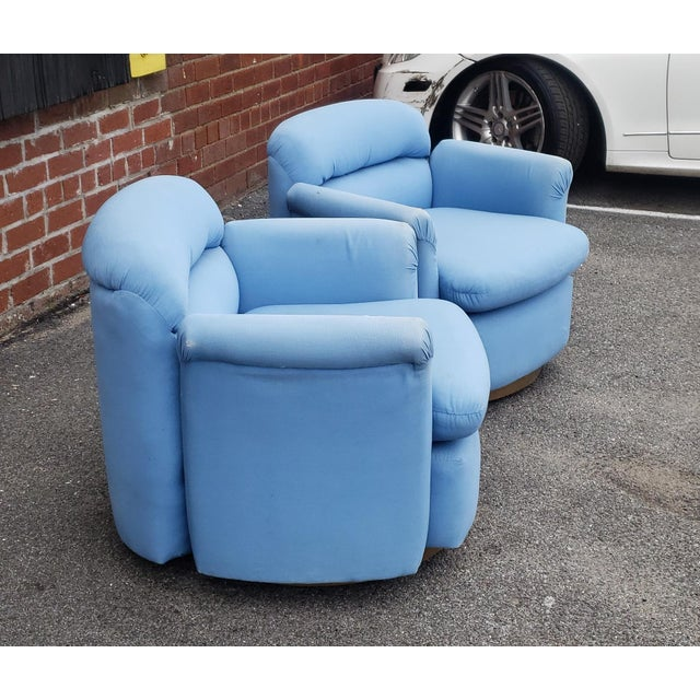 Pair Contemporary Vintage 1970s T. Coggin Style Swivel Club Armchairs For Sale - Image 4 of 10