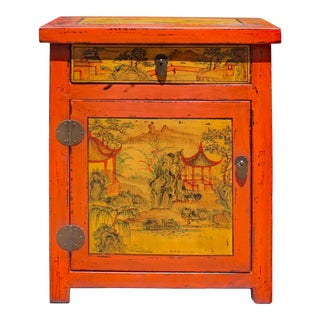 Chinese Oriental Distressed Orange Scenery Graphic End Table Nightstand For Sale