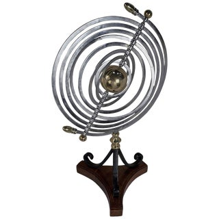 Chrome and Brass Armillary With Teak and Iron Base For Sale