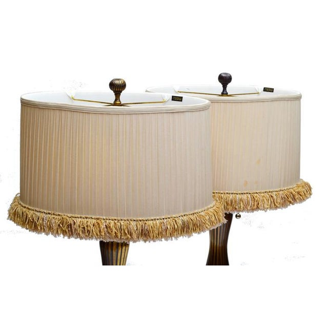 Mid-Century Modern Frederick Cooper Pair of Vintage Bronze Table Lamps For Sale - Image 3 of 4