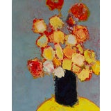 """Image of Bill Tansey """"Black Vase"""" Floral Still Life Oil Painting For Sale"""